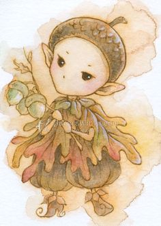 Acorn Sprite by aruarian-dancer on deviantART Fantasy Drawings, Fantasy Art, Canvas Light Art, Distortion Art, Hippie Wallpaper, Tinkerbell And Friends, Creation Art, Whimsical Art, Creature Design