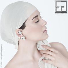 PEARL-CELAIN COLLECTION porcelain, platinum adjustable earrings
