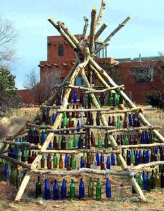 another take on the bottle tree: bottle teepee