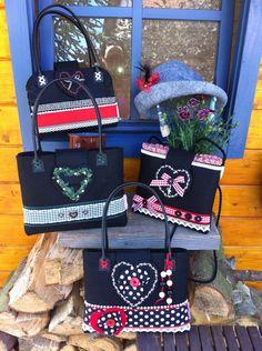 Handmade Dirndl-Taschen Jede Tasche ein Unikat!  Diese Handtaschen aus Filz mit verschiedenen Accessoires und in verschiedenen Formen passen perfekt zum Dirndl oder auch zur Lederhosen!