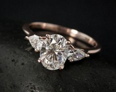Forever One Colorless Moissanite Engagement Ring - 3 Stone Engagement Ring - Boho Bride, Choose Your Setting, Bridal Ring