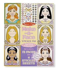 Melissa  Doug MakeaFace Sticker Pad Sparkling Children Board Gameses  15 Faces 4 Sticker Sheets >>> Details can be found by clicking on the image.