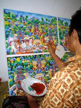 Pak Soki.  Artist from the 'Village of Young Artists' - Bali Art