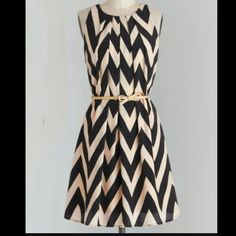 Black and creme chevron dress Silky and flowy- so versatile. Can be worn with or without a belt, definitely a show stopper, worn once- no stains, like new ModCloth Dresses