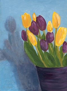 Purple and Yellow Tullips oil painting