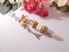 """Bijou de sacs trio de macarons """"café,vanille"""" en argile polymere(fimo) : Autres bijoux par lili-gourmandise"""