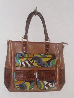 Bolsa  de couro cinético e tecido