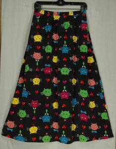 Bob Mackie Wearable Art Whimsical Multi #Cats on Black Maxi #Skirt Medium | eBay