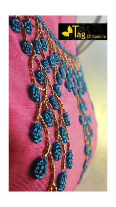 Simple Embroidery Designs, Kurti Embroidery Design, Bead Embroidery Patterns, Embroidery Works, Beaded Embroidery, Hand Embroidery Dress, Hand Embroidery Videos, Hand Embroidery Stitches, Sugar Beads