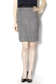 Fitted,  grey cableknit pencil style mid length skirt with thick elastic waist band. Cableknit Skirt by Nick & Mo. Clothing - Skirts Austin, Texas