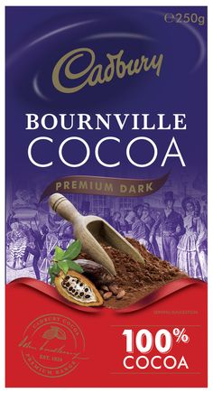 Cadbury: Bournville Cocoa - (6 x 250g) Cadbury Dairy Milk, Chocolate Flavors, Cocoa, Range, Baking, Dutch, Container, Packaging, Store