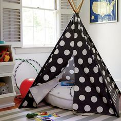 A Teepee to Call Your Own (Grey w/ White Dot) in Play Houses & Tents | The Land of Nod