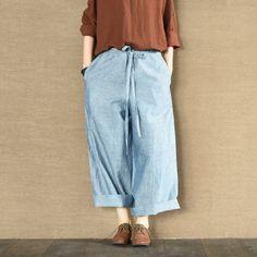 Blue Linen Culottes Wide-legged Pants Causel Women Clothes
