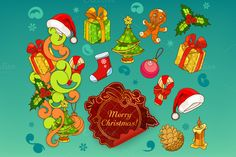 Christmas doodle icons by Allevinatis Studio on @creativemarket