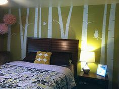 DIY Painted Birch Tree Wall