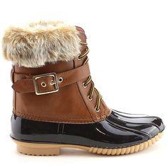Black Tan Rain Fur Ankle Flat Boots with faux fur shaft decor #cutesyoriginals