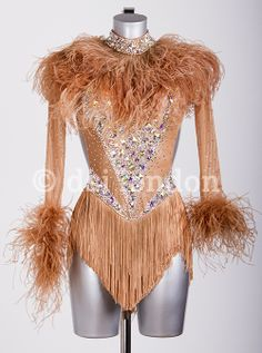 Iveta Lukosiute tan feather Latin dress