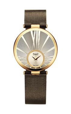 Piaget Limelight Twice Silver and Champagne Dial Rose Gold Brown Satin  Ladies Watch 6933d692237