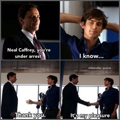 The first time Peter arrested Neal. White collar quotes