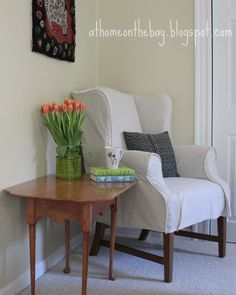 OH This Is An Amazing Slip Cover Tutorial For A Wing Back Chair Using A  Drop Cloth! I Would So Love To Recover Mine, But Iu0027m A Chicken To Do It  Myself.