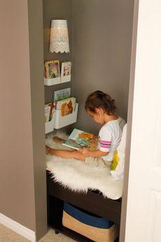 Trendy Small Closet Organization For Kids Reading Nooks Ideas Reading Nook Closet, Closet Nook, Reading Nook Kids, Kid Closet, Closet Fort For Kids, Closet Small, Closet Ideas, Room Deco, Small Closet Organization