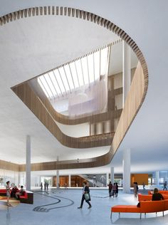 This library, which will also house the Shanghai Institute of Scientific and Technological Information, will be arranged around a generous atrium with three staggered reading rooms. Batons of timber will line the column-mounted platforms, offsetting the otherwise sparse white decor.