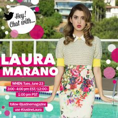 Countdown is on! 1 hour until we chat w/ @lauramarano! FOLLOW us & TWEET Qs using #JustineLaura to WIN a signed mag!