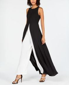 Adrianna Papell Petite Crepe Colorblock Jumpsuit - Black Source by macys Look Fashion, Womens Fashion, Luxury Fashion, Gothic Fashion, Mother Of Groom Dresses, Review Dresses, Classy Outfits, Pretty Outfits, Casual Outfits