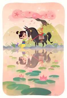 My full piece for Mulan's anniversary tribute show. Apparently Ming-Na Wen (voice of Mulan!) bought one of my prints amg 😭💚 P. there's a limited number of variant prints available now on Gallery Nucleus' shop! Disney Pixar, Disney And Dreamworks, Disney Cartoons, Disney Magic, Disney Movies, Disney Characters, Punk Disney, Disney Artwork, Disney Fan Art