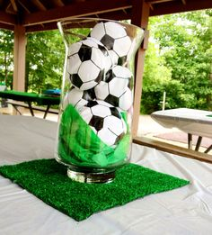 best ideas about Soccer centerpieces Soccer Birthday Parties, Sports Birthday, Soccer Party, Grad Parties, Soccer Wedding, Sports Party, Soccer Centerpieces, Party Centerpieces, Bautizo Diy