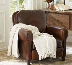 Rowling Leather Armchair from Pottery Barn. I want a huge leather chair to read in.