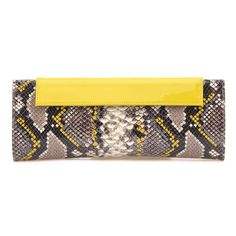 """MAGRIT Mary Clutch made of python roccia with yellow details, yellow patent and white mesh, matches pumps, $283, 10.6"""" x 4.7"""" high"""