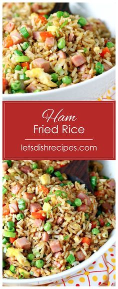 Ham Fried Rice Recipe -- Fried rice tossed with soy sauce scrambled eggs diced ham and veggies. Even better than take-out! Rice Recipes, Side Dish Recipes, Asian Recipes, Dinner Recipes, Cooking Recipes, Healthy Recipes, Recipes With Diced Ham, Savoury Recipes, Asian Foods