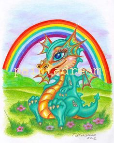 Baby DRAGON Under The Rainbow  Nursery Fantasy Art by paintadream, $7.00