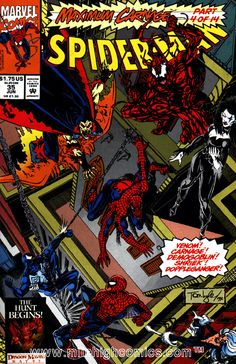 "Maximum Carnage: Part 4 of ""Team Venom! Guest-starring Venom, Cloak, and Black Cat. Spidey can't stop them alone and is forced to team-up last person he expected in order to stop this wave of villainy. Spiderman Maximum Carnage, Venom Comics, Marvel Comic Books, Comics Online, Vintage Comics, Comic Book Covers, Amazing Spider, Comic Character, Comic Art"