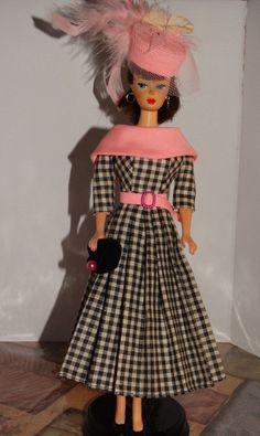 Pink Checks Vintage Barbie Doll Dress Reproduction Repro Handmade New | eBay