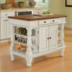 Shop Home Styles 42-in L x 24-in W x 36-in H Distressed Antique White Kitchen Island at Lowes.com