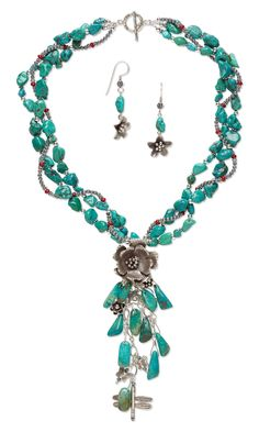 Jewelry Design - Triple-Strand Necklace and Earring Set with Turquoise Gemstone Beads, Coral Beads and Hill Tribes Fine Silver Components - Fire Mountain Gems and Beads