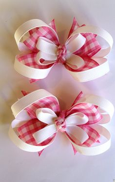 Sweet Pink Gingham Bows by picklesandpiggies on Etsy, $7.00