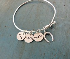 Personalized Pet Horse Bangle Jewelry Horse Lover Gift HorseShoe Personalized Horse Jewelry Custom Horse Jewelry Animal Lover Gift