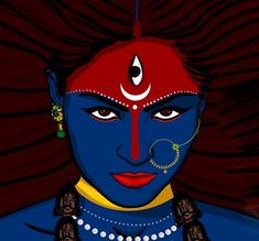 Krishna Painting, Krishna Art, Abstract Tree Painting, Acrylic Painting Canvas, Pop Art Drawing, Art Drawings, Durga Images, Kali Ma, Kali Goddess