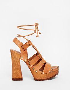Image 2 ofASOS TURN BACK TIME Leather Heeled Sandals