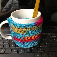 Ravelry: Slotted Mug Hug pattern by Pam Stiff Crochet Coffee Cozy, Cup Sleeve, Mug Cozy, Ravelry, Slot, Hug, Handle, Buttons, Pattern