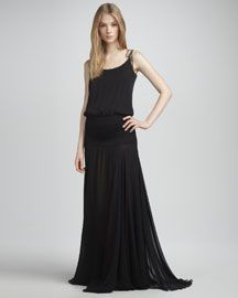 T4WH6 Halston Heritage Sheer-Skirt Gown