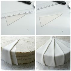 PLEATS Individually cut pieces of fondant laid over each other. lots of impressive pieces on this page. Bolo Fondant, Fondant Tips, Fondant Icing, Fondant Tutorial, Fondant Cakes, Cupcake Cakes, Fondant Recipes, Cake Recipes, Fondant Ruffles