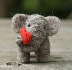 Needle Felted Elephant with Heart.