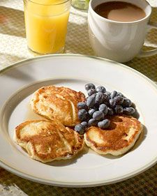 I just learned that cottage cheese in pancakes is great.  I'll be adding lots of banana to this as well!