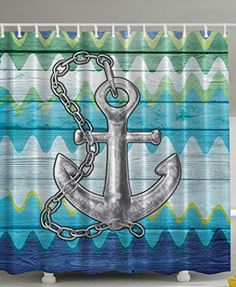 Anchor Decor Nautical Chevron with Steel Chain Rustic Wooden Planks Buoy Kids Home Textiles Bath Decor Lovely Dreamy Meditational Fantastic Art Prints Nautical Shower Curtain Green Gray Navy Ambesonne http://www.amazon.com/dp/B019IOBXCM/ref=cm_sw_r_pi_dp_Wjvexb1J12H04