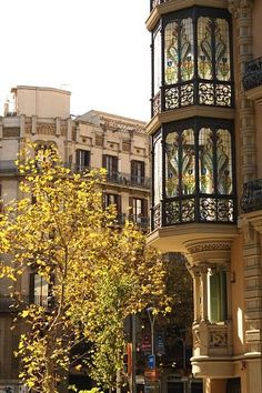 Barcelona Eixample modernist buildings stained glass