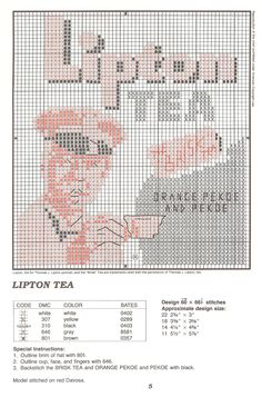 Lipton tea cross stitch